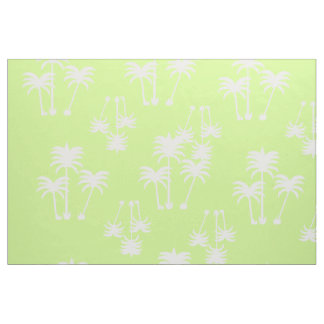 White Palms on Lime Fabric