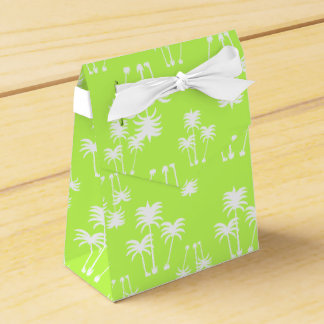White Palms on Lime Party Favour Boxes