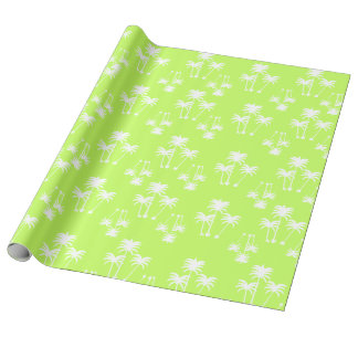 White Palms on Lime Wrapping Paper