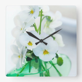 White Pansies Flowers Green Vase Floral Pansy Clock