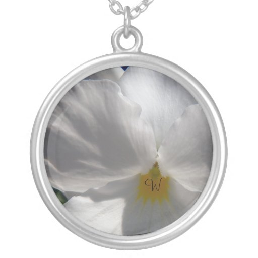 White Pansy with Initial Necklace