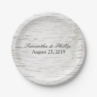 White Paper Birch Tree Bark Rustic Wood Wedding 7 Inch Paper Plate