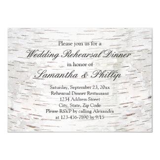 White Paper Birch Tree Bark Rustic Wood Wedding Card