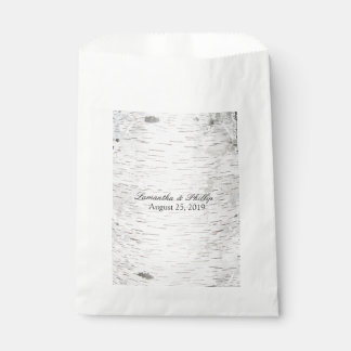 White Paper Birch Tree Bark Rustic Wood Wedding Favour Bags