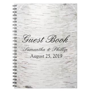 White Paper Birch Tree Bark Rustic Wood Wedding Spiral Notebooks