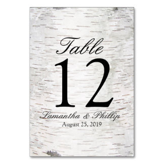 White Paper Birch Tree Bark Rustic Wood Wedding Table Cards