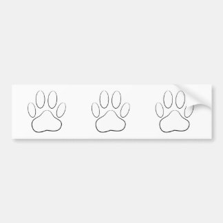 White Paw Print Bumper Sticker