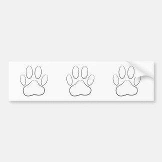 White Paw Print Bumper Sticker