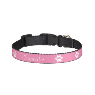 White Paw print Dog Collar