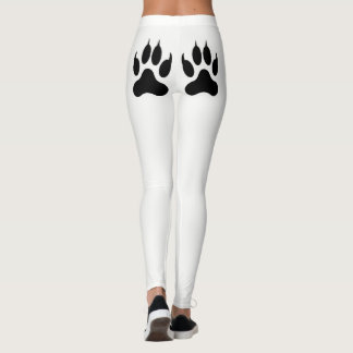 White paw print leggings
