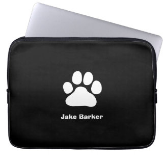 White Paw Print on Black - Custom Text and Color Laptop Sleeve
