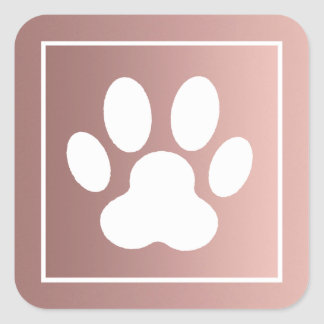 white paw print on rose gold square sticker