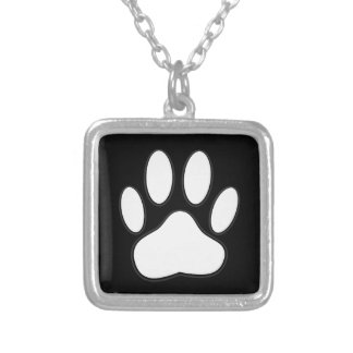 White Paw Print Silver Plated Necklace