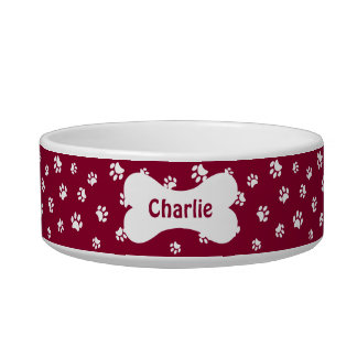 White Paw Prints and Red with Name in Bone Bowl