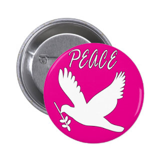 white peace dove button