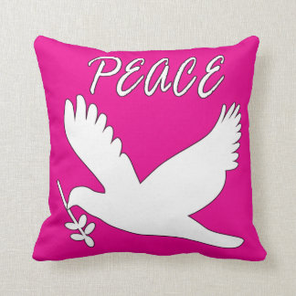 white peace dove pillow