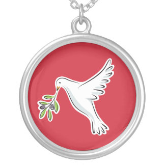 White peace dove with olive branch red necklace