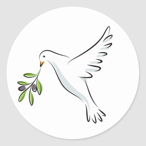 White peace dove with olive branch sticker