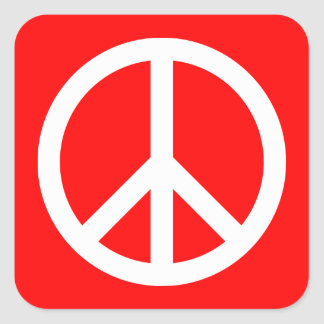 White Peace Sign Square Sticker