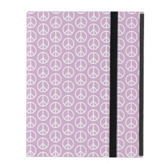 White Peace Signs on Pastel Lilac iPad Folio Case