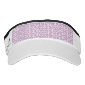 White Peace Signs on Pastel Lilac Visor