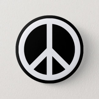 White Peace Symbol 6 Cm Round Badge