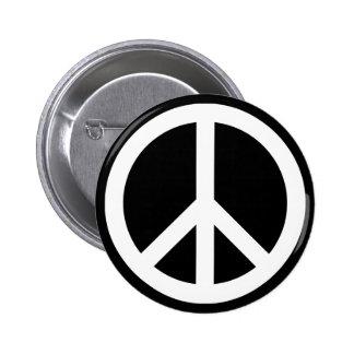 White Peace Symbol 6 Cm Round Badge