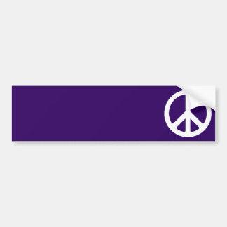 White Peace Symbol on Dark Purple Bumper Stickers