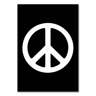 White Peace Symbol Template Table Cards