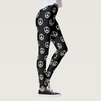 White Peace Symbols on Black Leggings