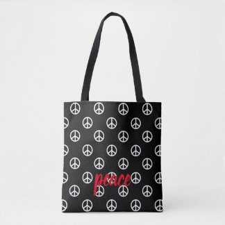 White Peace Symbols on Black Personalized Tote Bag