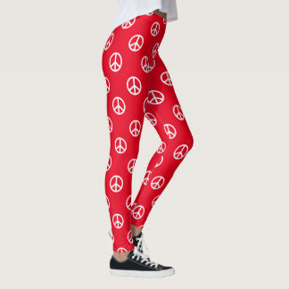 White Peace Symbols on Bright Red Leggings