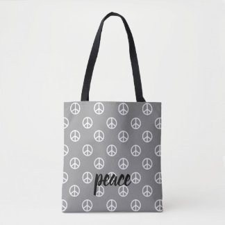 White Peace Symbols on Dove Grey Personalized Tote Bag