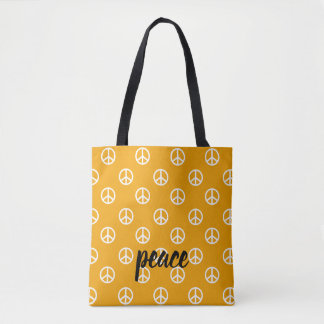 White Peace Symbols on Golden Yellow Personalized Tote Bag
