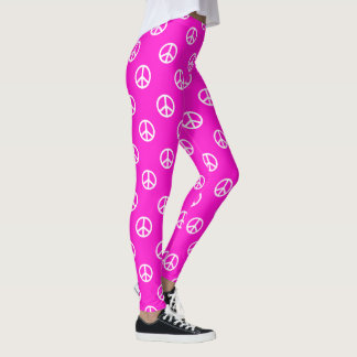 White Peace Symbols on Super Pink Leggings