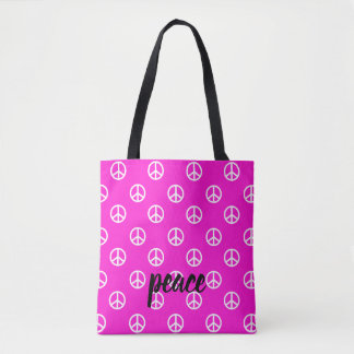 White Peace Symbols on Super Pink Personalized Tote Bag