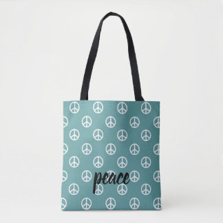 White Peace Symbols on Very Aqua Personalized Tote Bag