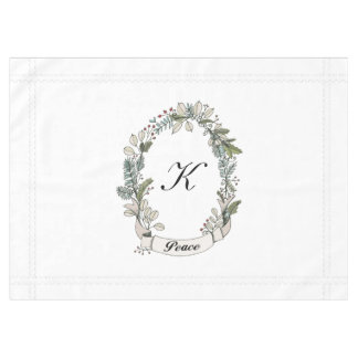 White Peace Wreath Holiday Monogram Tablecloth