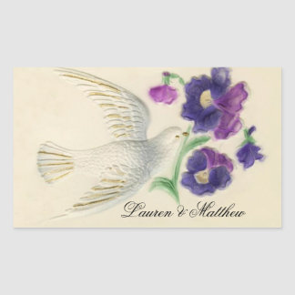 White peaceful Christmas Dove Rectangular Sticker