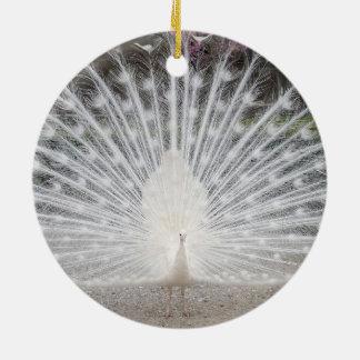 white peacock ceramic ornament
