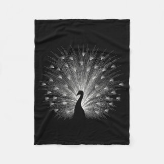 White peacock fleece blanket