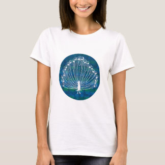 White Peacock on a Blue Background T-Shirt