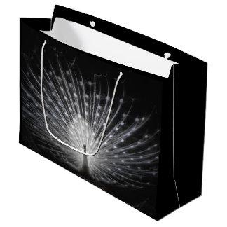 White Peacock on Black Gift Bag