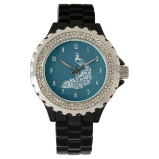 White Peacock on Teal Chic Stylish Art Deco Design Wristwatch