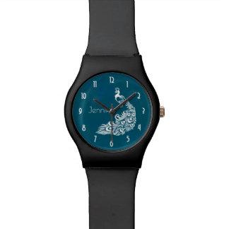 White Peacock Stylish Art Deco Design Personalized Watch