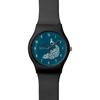 White Peacock Stylish Art Deco Design Personalized Watches