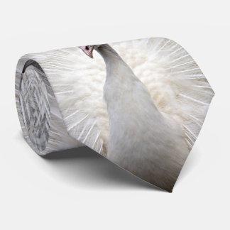 White Peacock Three Panel Tie