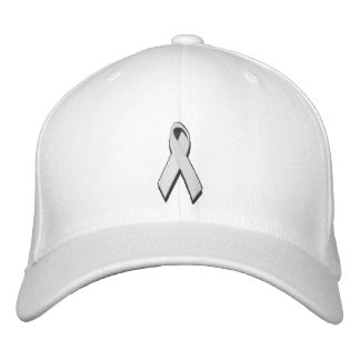 white/pearl awareness ribbon embroidered hat