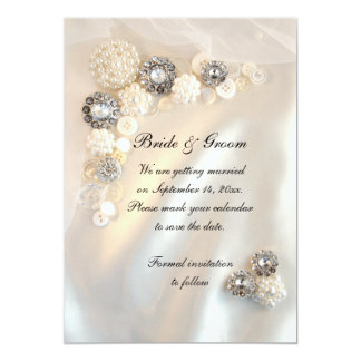 White Pearl Diamond Buttons Wedding Save the Date 13 Cm X 18 Cm Invitation Card