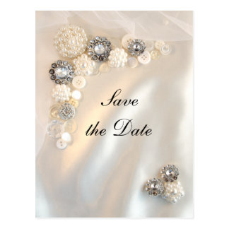 White Pearl Diamond Buttons Wedding Save the Date Postcard